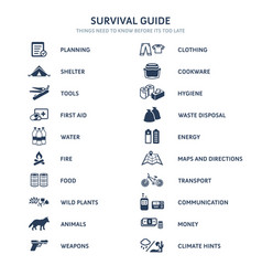 Survival guide icons vector