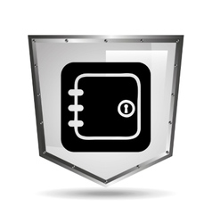 Symbol box safety shield steel icon vector