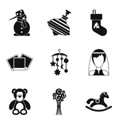 Teddy bear icons set simple style vector