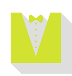 Tuxedo with bow silhouette pear icon with flat vector
