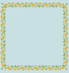 Vintage square frame with yellow tulips vector