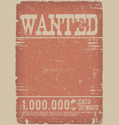Wanted poster on red grunge background vector