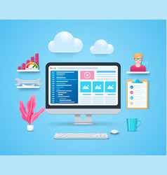 web development in 3d style vector image