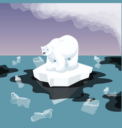 White bear with plastic garbage in water vector