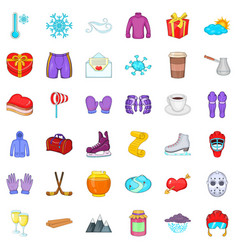 Winter season icons set cartoon style vector