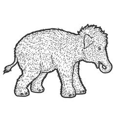Woolly mammoth child sketch scratch board vector