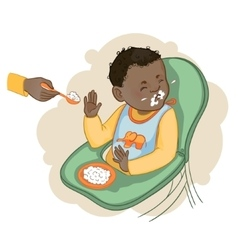 African american baby boy refuses to eat pap vector image vector image