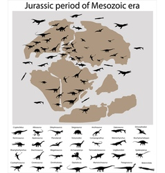 Dinosaurs of jurassic period on map vector image vector image
