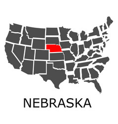 state of nebraska on map of usa vector image vector image