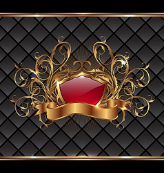 Gold elegance frame with heraldic shield vector image vector image