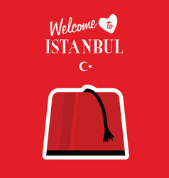 istambul turkey icon design in red color vector image