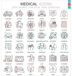 Medical medicine color flat line outline vector image vector image