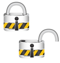 Metal security locked and unlocked vector image