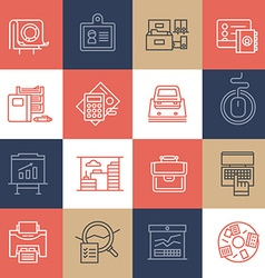 Office Life Icons on Color Tiles vector image