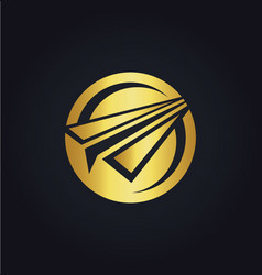 paper plane round gold logo vector image vector image