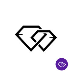 two diamonds together line style logo vector image