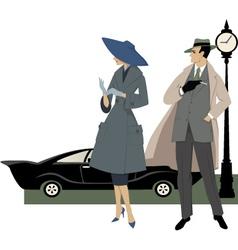 1950s street scene vector image vector image