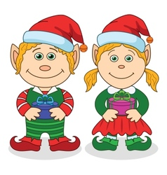 Christmas elves boy and girl vector image