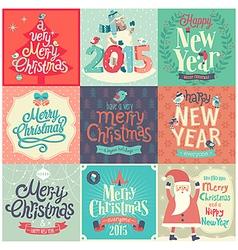 christmas funny emblems set vector image vector image