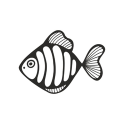 Hand drawn fish isolated on the white background vector image vector image