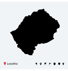 High detailed map of Lesotho with navigation pins vector image vector image