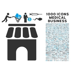 Shop Building Icon with 1000 Medical Business vector image vector image