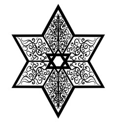 sketch tattoo star of solomon vector image vector image