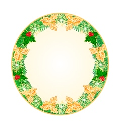 Button circular Christmas spruce and holly vector image