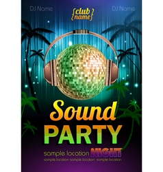Disco background Disco poster sound party vector image vector image