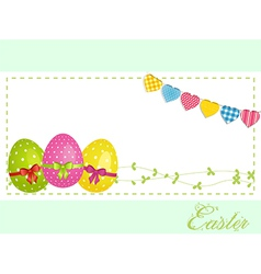 Easter eggs background panel and bunting vector image