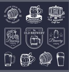 Old brewery logos set kraft beer retro signs or vector