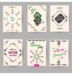set of decorative hand drawn boho cards vector image