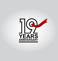 19 years anniversary logotype with black outline vector