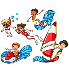A group of people doing watersports vector image