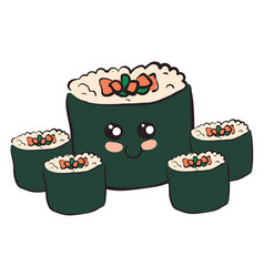 a plate japanese sushi or color vector image