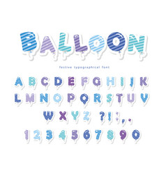balloon stripped blue font cute abc letters and vector image