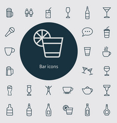 Bar outline thin flat digital icon set vector