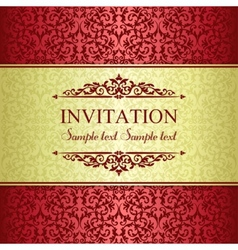 Baroque invitation gold and red vector