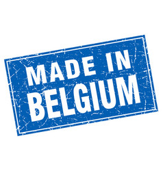 Belgium blue square grunge made in stamp vector