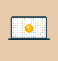 Bitcoin and laptop earning crypto currencies vector