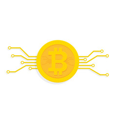 bitcoin digital currency icon with circuit board vector image