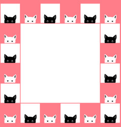 Black white cat chess board border pink background vector