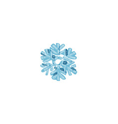 Blue shaded snowflake with transparent elements vector