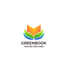 Book green educational design template vector