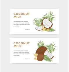 bundle web banner templates for coconut milk vector image