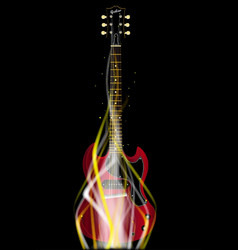 Burning solid electric guitar vector