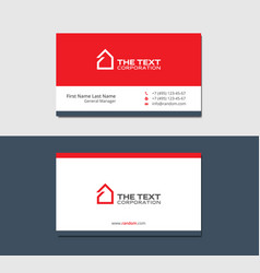 business cards template with house red color vector image