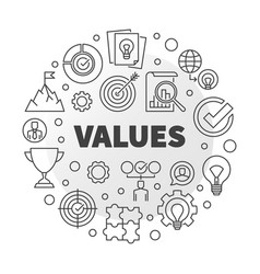 Business values round minimal outline vector
