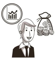 Businessman infographic sketch design vector