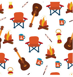 Camping gadgets seamless pattern background vector